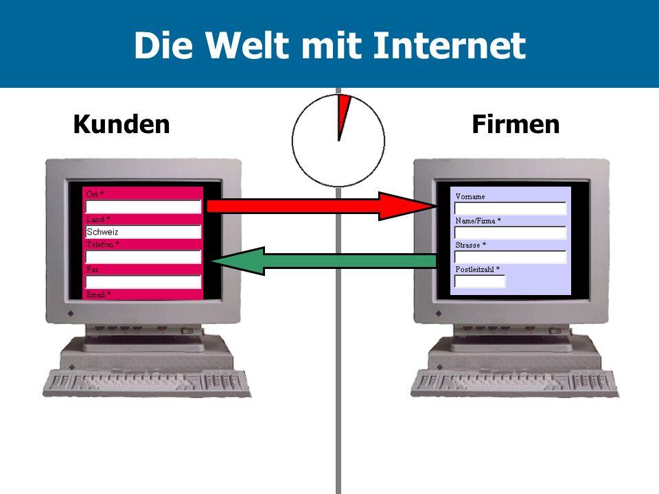 Die Welt mit Internet Kunden Firmen