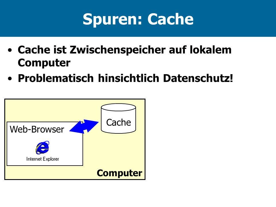 Spuren: Cache Cache ist Zwischenspeicher auf lokalem Computer