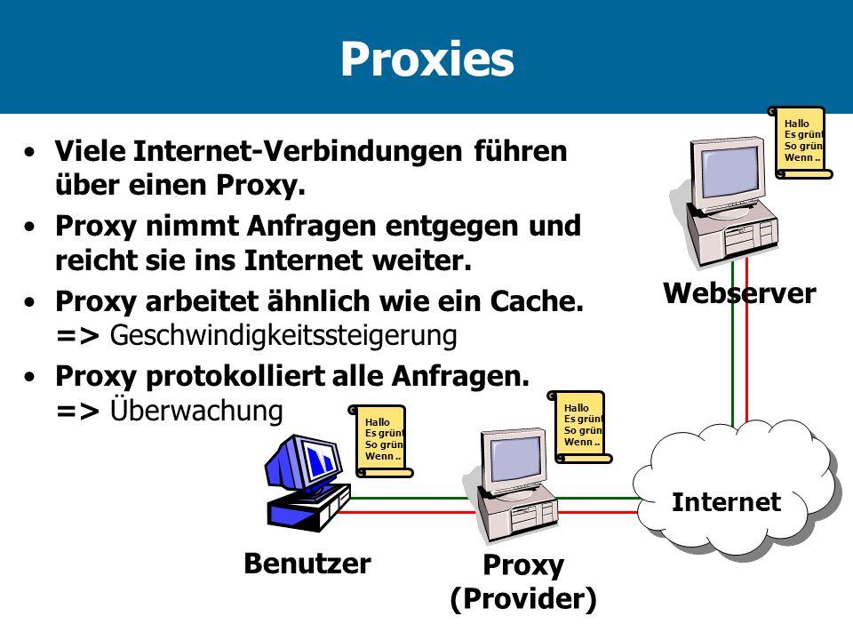 Proxies Viele Internet-Verbindungen führen über einen Proxy.