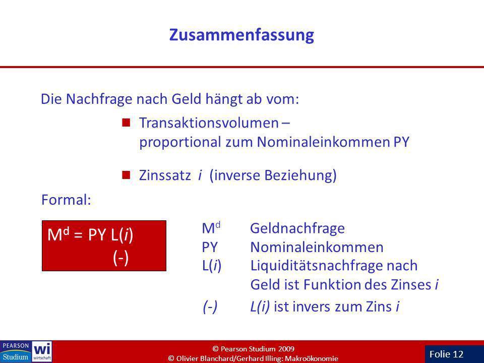Zusammenfassung Md = PY L(i) (-) Die Nachfrage nach Geld hängt ab vom: