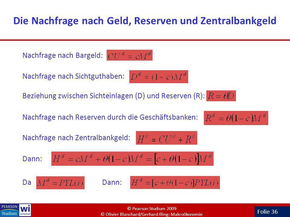 Die Nachfrage nach Geld, Reserven und Zentralbankgeld