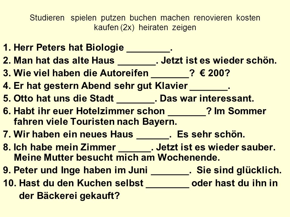 1. Herr Peters hat Biologie ________.