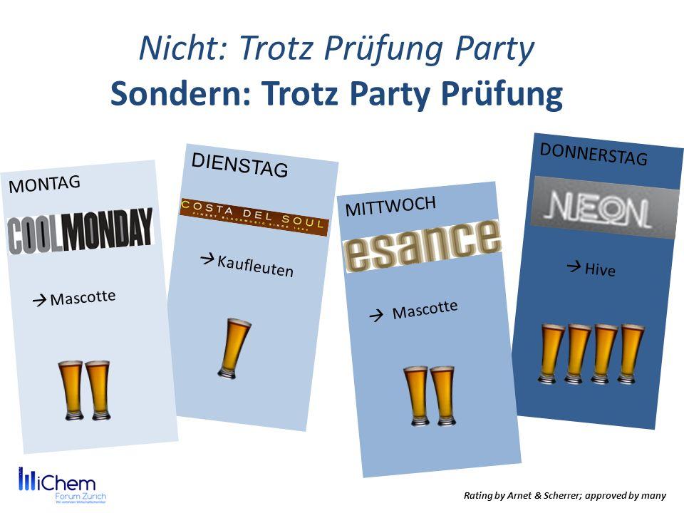 Nicht: Trotz Prüfung Party Sondern: Trotz Party Prüfung