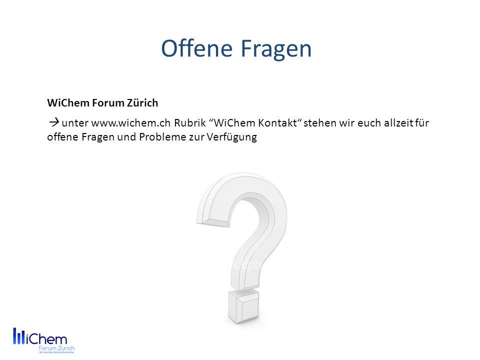 Offene Fragen WiChem Forum Zürich