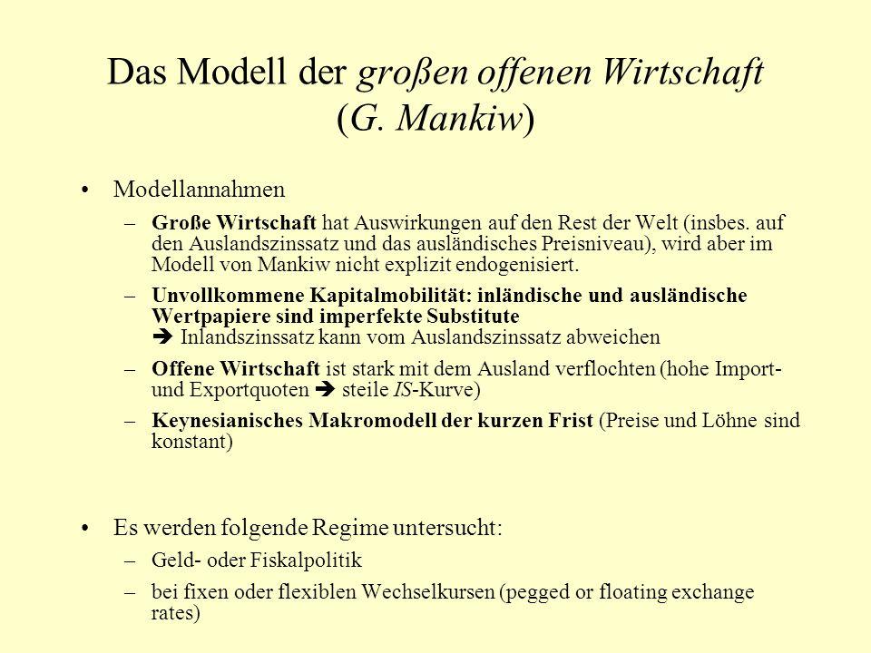 Das Modell der großen offenen Wirtschaft (G. Mankiw)