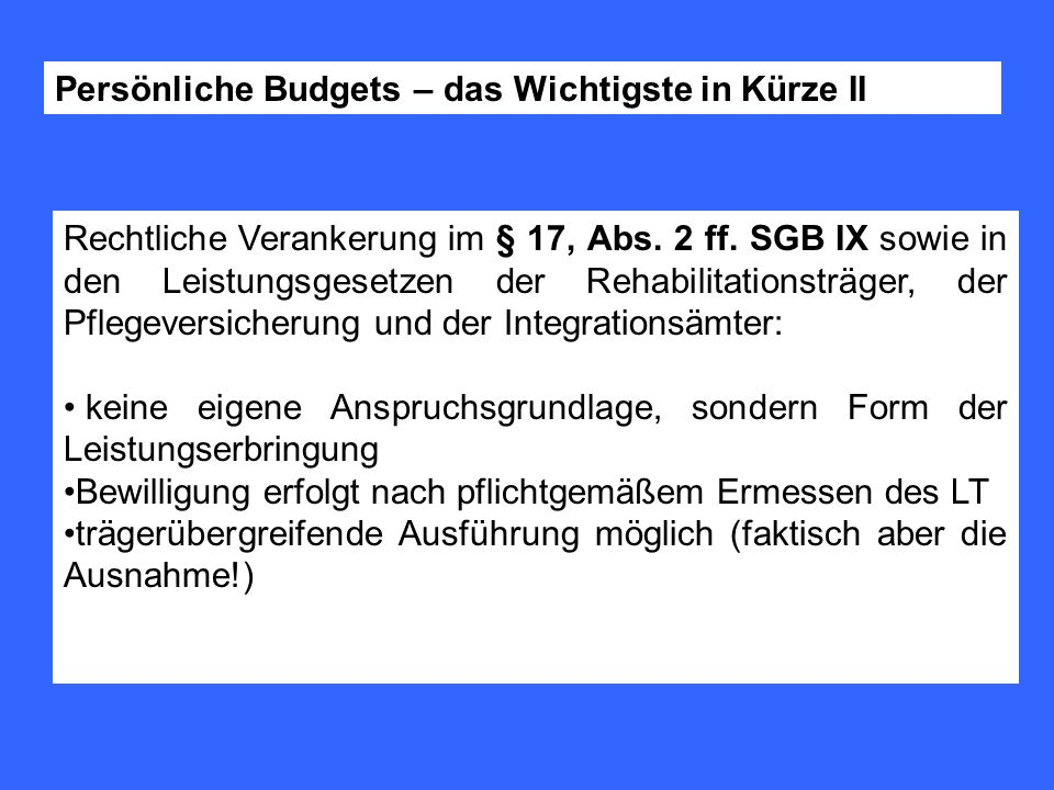 Persönliche Budgets – das Wichtigste in Kürze II