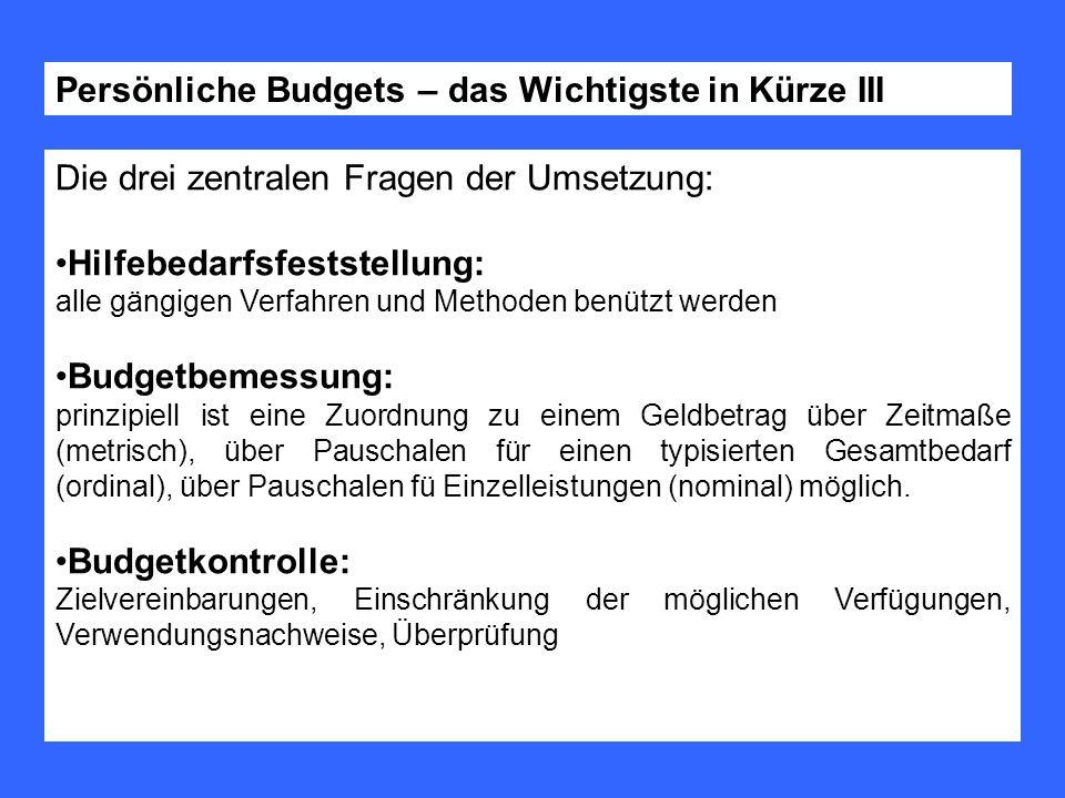 Persönliche Budgets – das Wichtigste in Kürze III