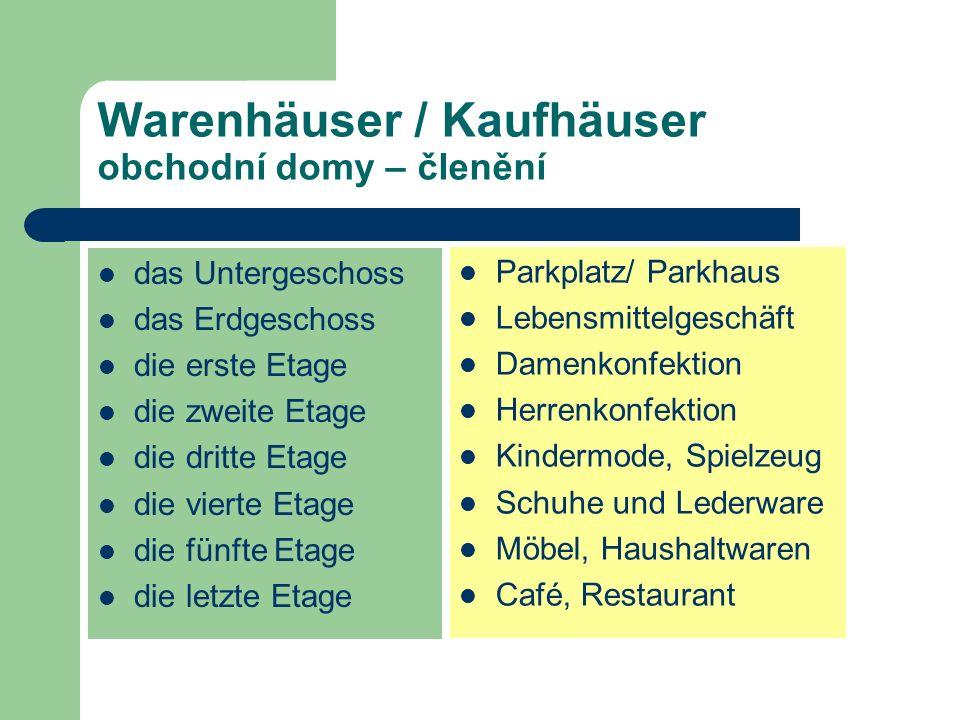 Warenhäuser / Kaufhäuser obchodní domy – členění