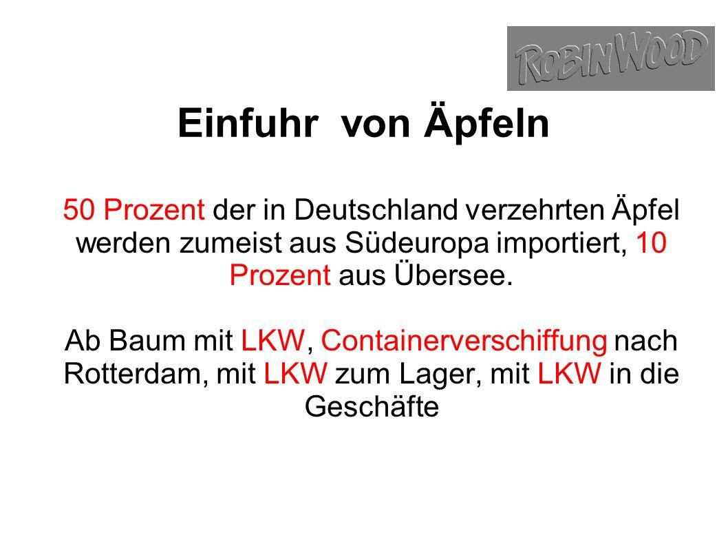 Einfuhr von Äpfeln 50 Prozent der in Deutschland verzehrten Äpfel werden zumeist aus Südeuropa importiert, 10 Prozent aus Übersee.