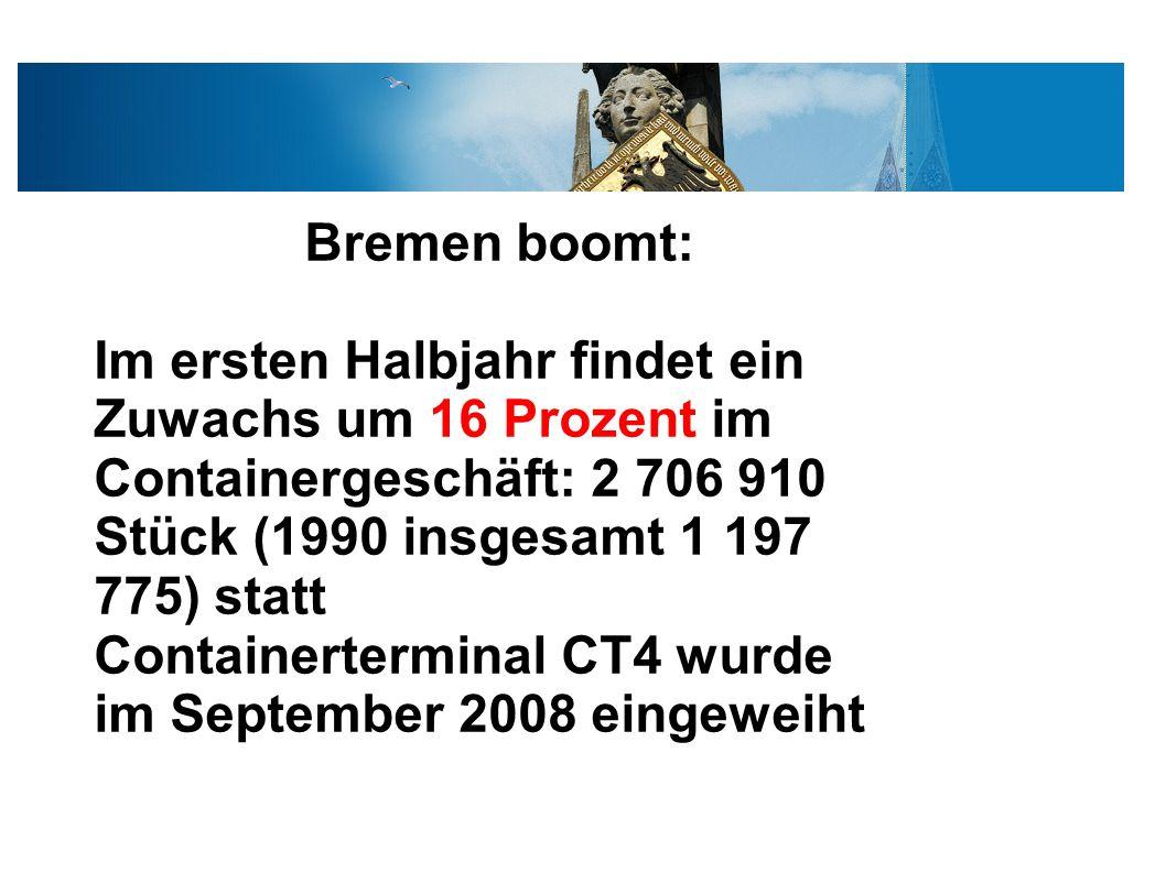 Bremen boomt: Im ersten Halbjahr findet ein Zuwachs um 16 Prozent im Containergeschäft: 2 706 910 Stück (1990 insgesamt 1 197 775) statt.