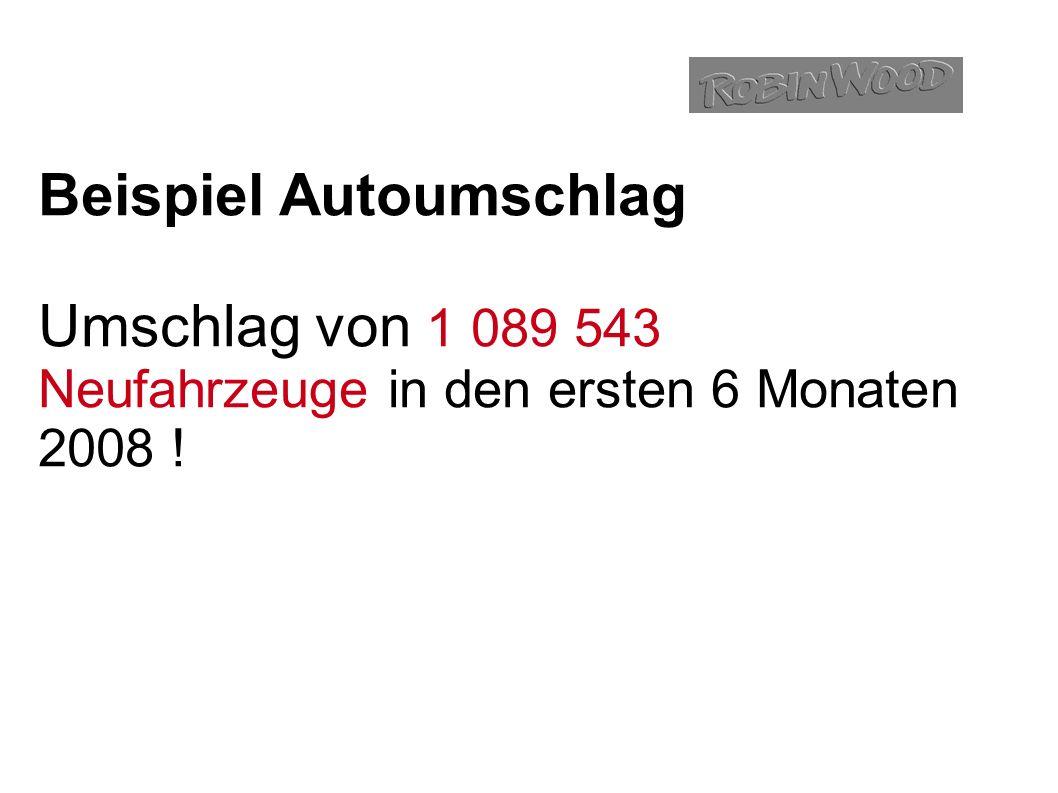 Beispiel Autoumschlag Umschlag von 1 089 543 Neufahrzeuge in den ersten 6 Monaten 2008 !