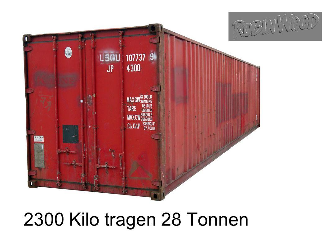 2300 Kilo tragen 28 Tonnen