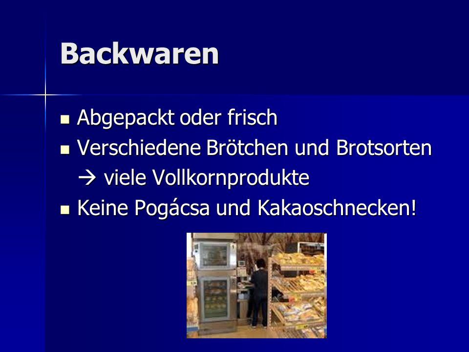 Backwaren Abgepackt oder frisch Verschiedene Brötchen und Brotsorten