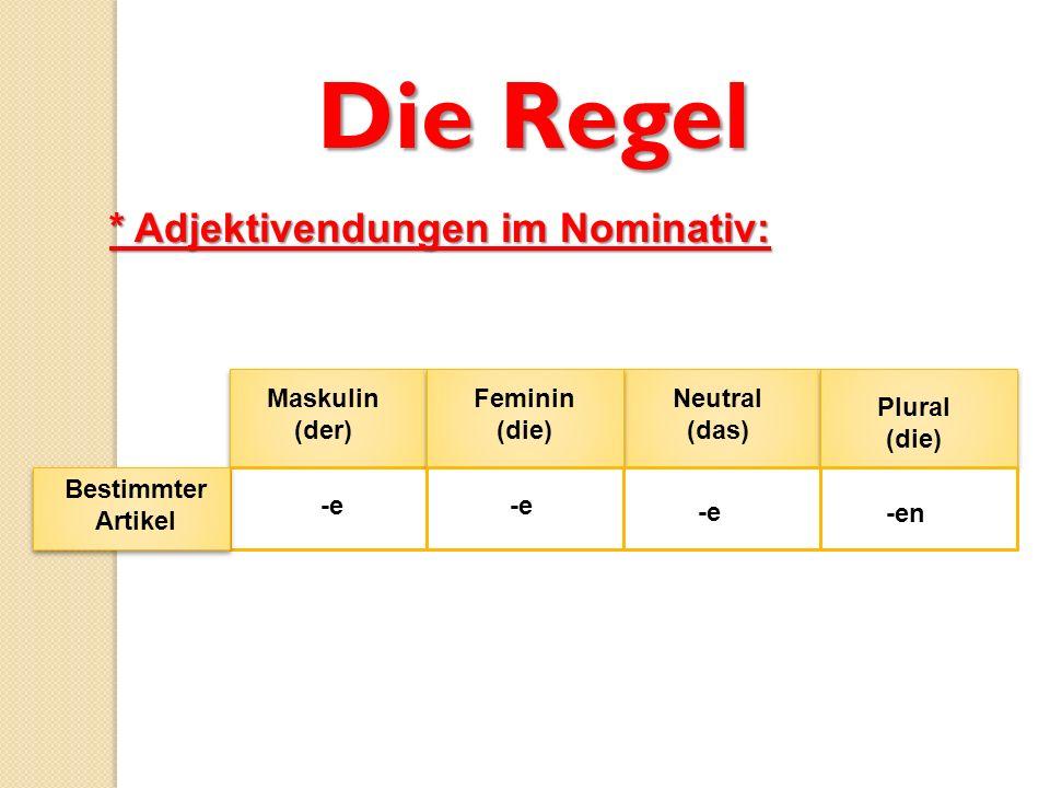 Die Regel * Adjektivendungen im Nominativ: Maskulin (der) Feminin