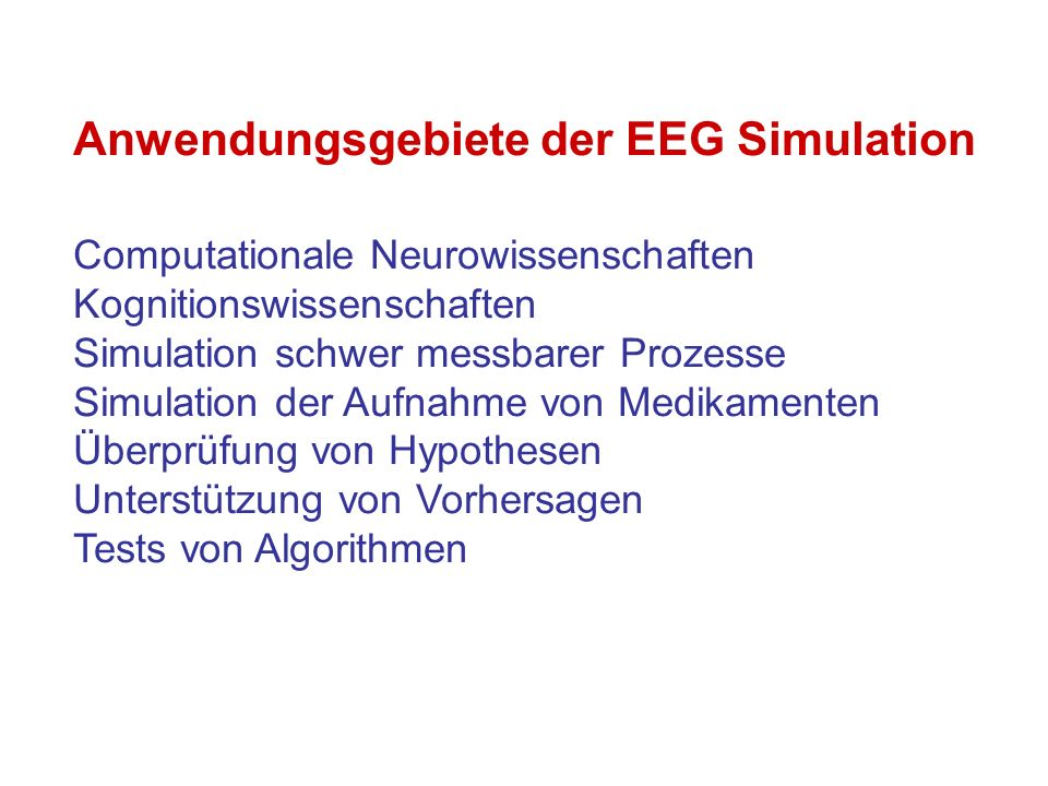 Anwendungsgebiete der EEG Simulation