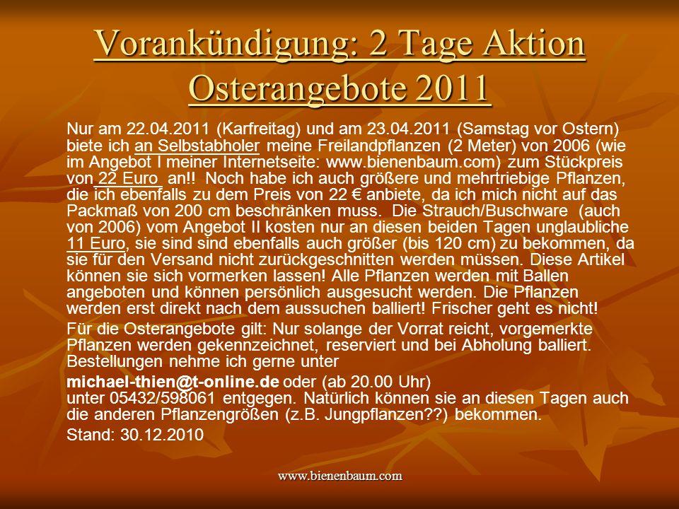 Vorankündigung: 2 Tage Aktion Osterangebote 2011