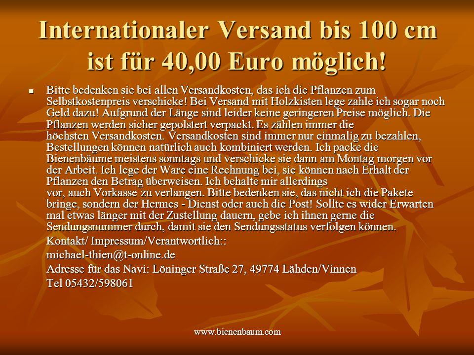 Internationaler Versand bis 100 cm ist für 40,00 Euro möglich!
