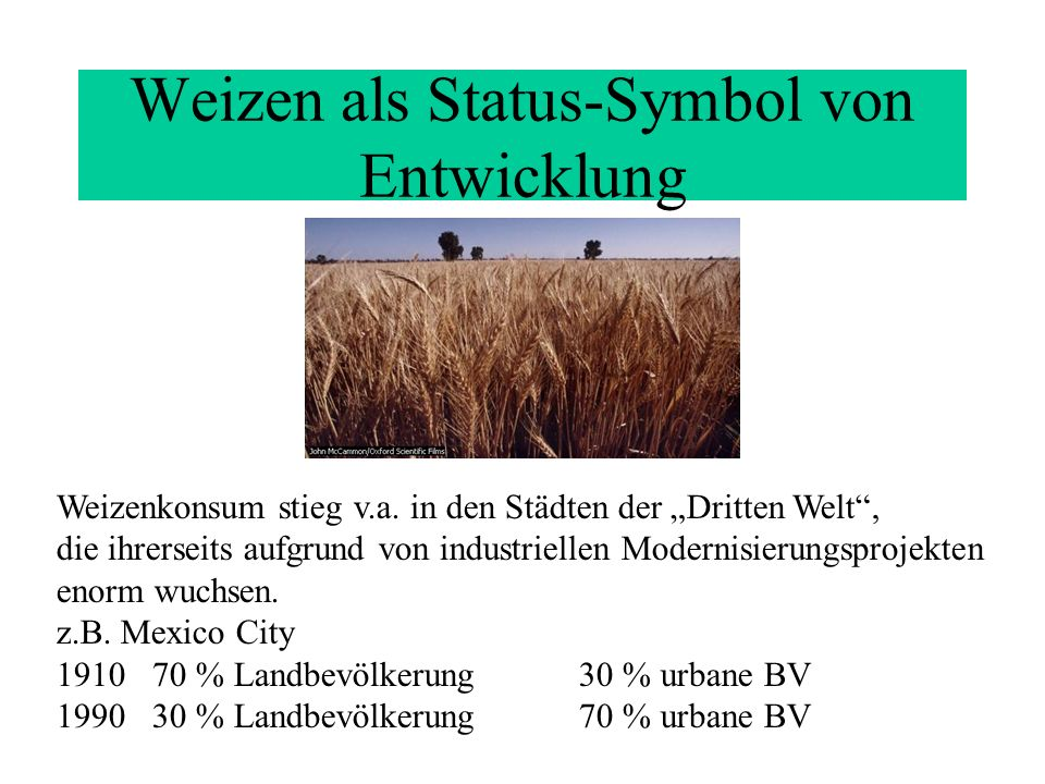 Weizen als Status-Symbol von Entwicklung