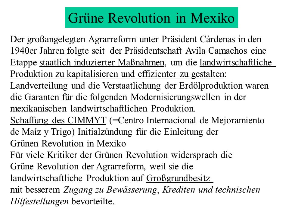 Grüne Revolution in Mexiko