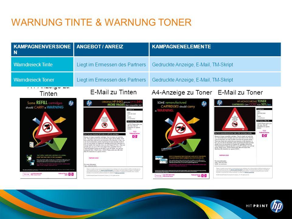 WARNUNG TINTE & WARNUNG TONER
