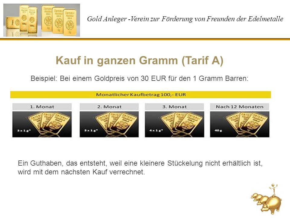 Kauf in ganzen Gramm (Tarif A)
