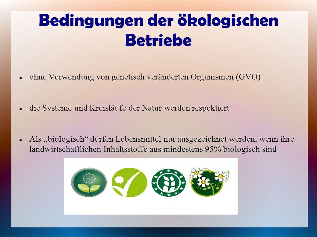 Bedingungen der ökologischen Betriebe