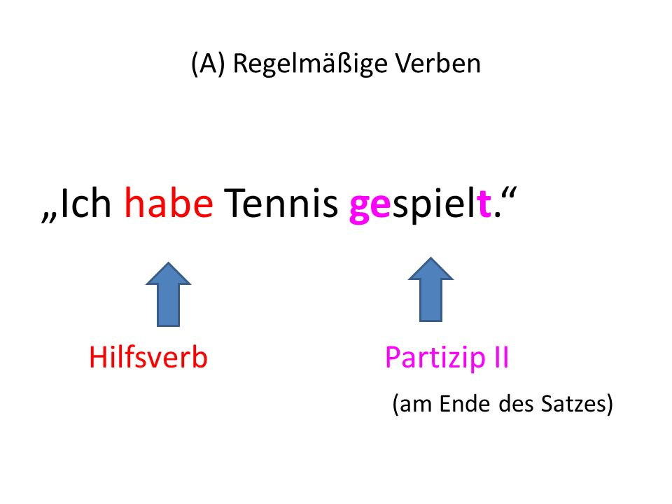 (A) Regelmäßige Verben
