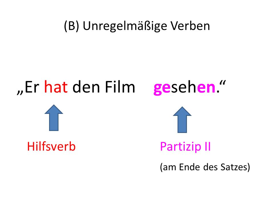(B) Unregelmäßige Verben