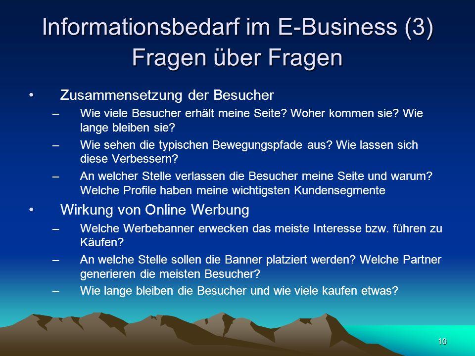 Informationsbedarf im E-Business (3) Fragen über Fragen
