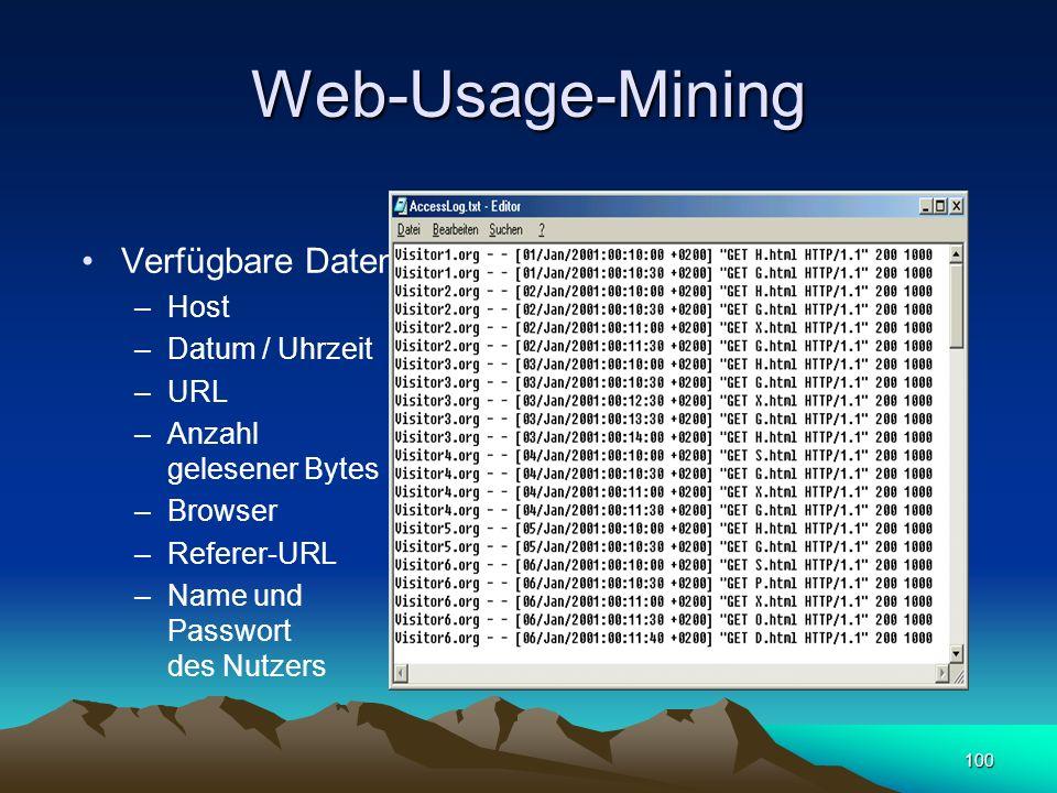 Web-Usage-Mining Verfügbare Daten Host Datum / Uhrzeit URL