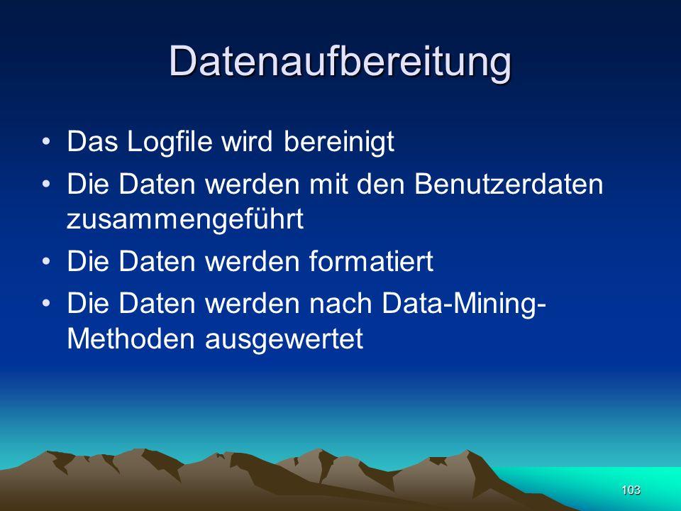 Datenaufbereitung Das Logfile wird bereinigt