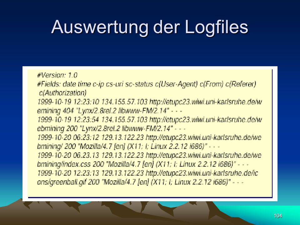 Auswertung der Logfiles