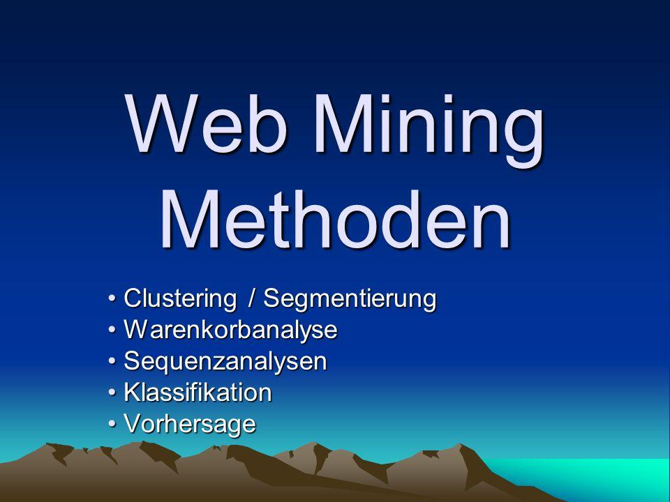 Web Mining Methoden Clustering / Segmentierung Warenkorbanalyse