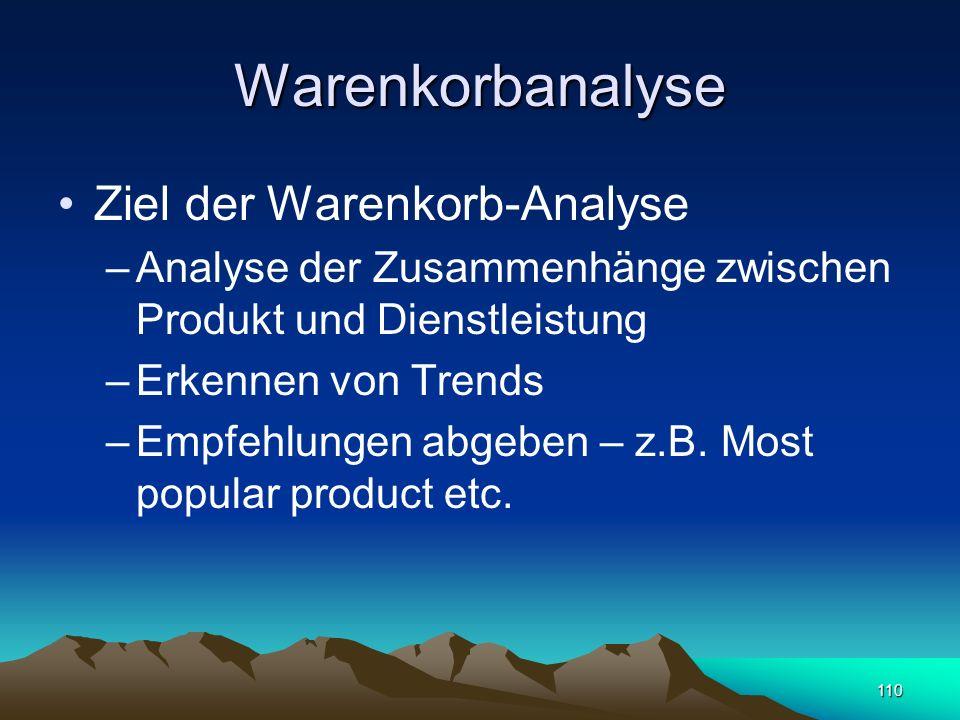 Warenkorbanalyse Ziel der Warenkorb-Analyse