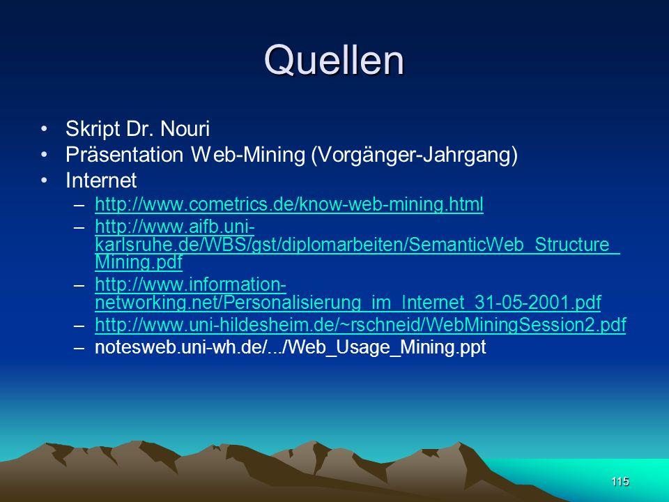 Quellen Skript Dr. Nouri Präsentation Web-Mining (Vorgänger-Jahrgang)