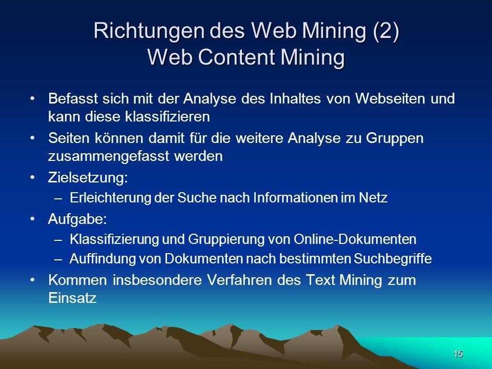 Richtungen des Web Mining (2) Web Content Mining
