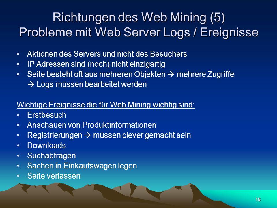 Richtungen des Web Mining (5) Probleme mit Web Server Logs / Ereignisse