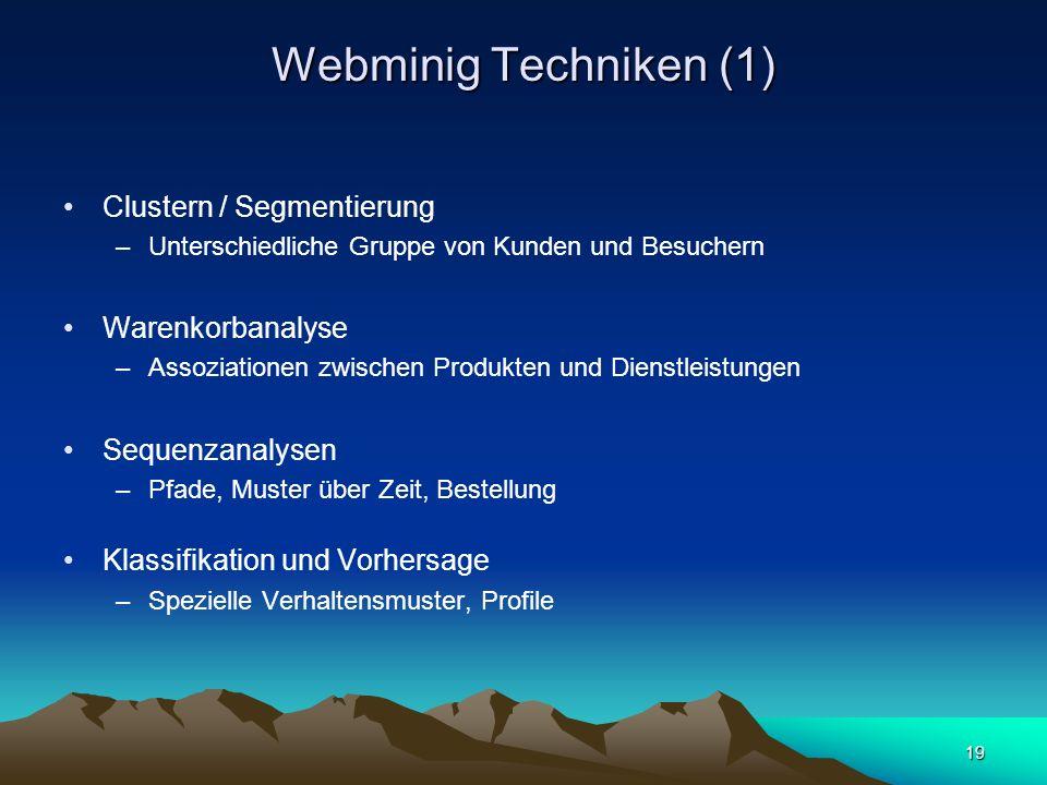 Webminig Techniken (1) Clustern / Segmentierung Warenkorbanalyse