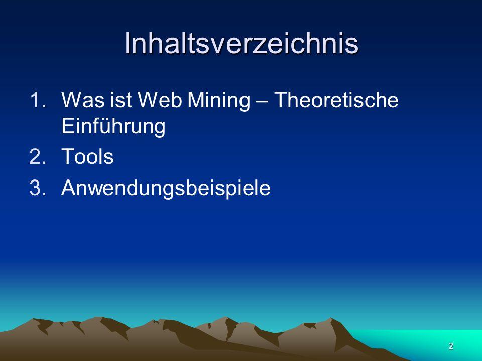 Inhaltsverzeichnis Was ist Web Mining – Theoretische Einführung Tools