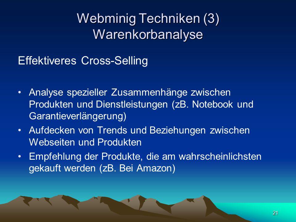 Webminig Techniken (3) Warenkorbanalyse