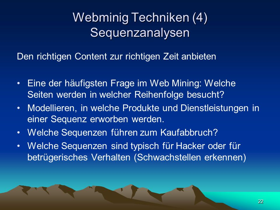 Webminig Techniken (4) Sequenzanalysen