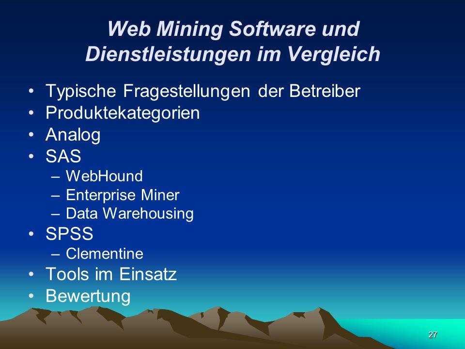Web Mining Software und Dienstleistungen im Vergleich