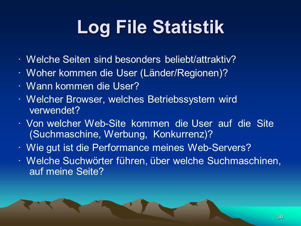 Log File Statistik · Welche Seiten sind besonders beliebt/attraktiv