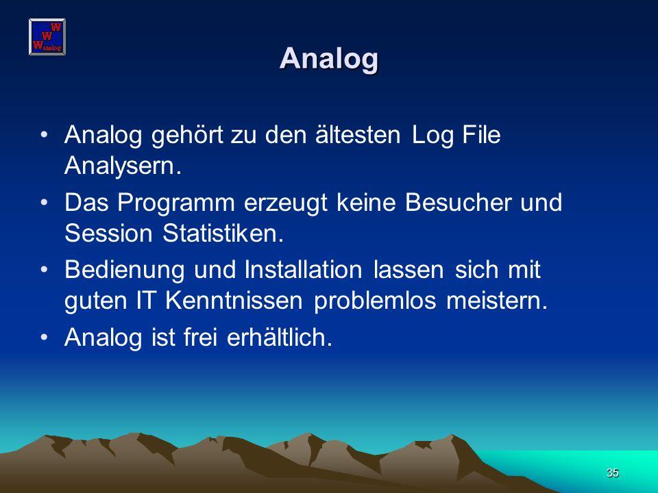 Analog Analog gehört zu den ältesten Log File Analysern.