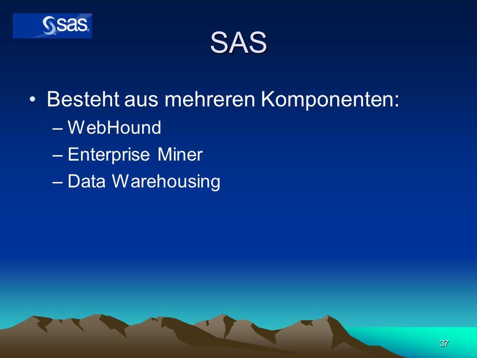 SAS Besteht aus mehreren Komponenten: WebHound Enterprise Miner