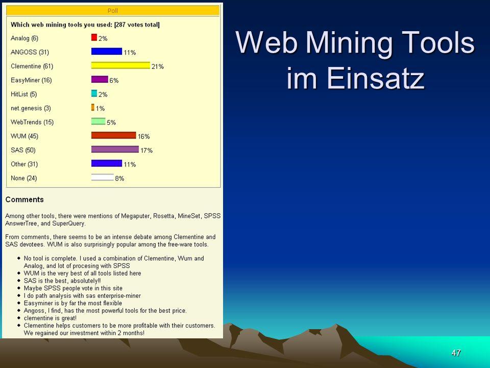 Web Mining Tools im Einsatz