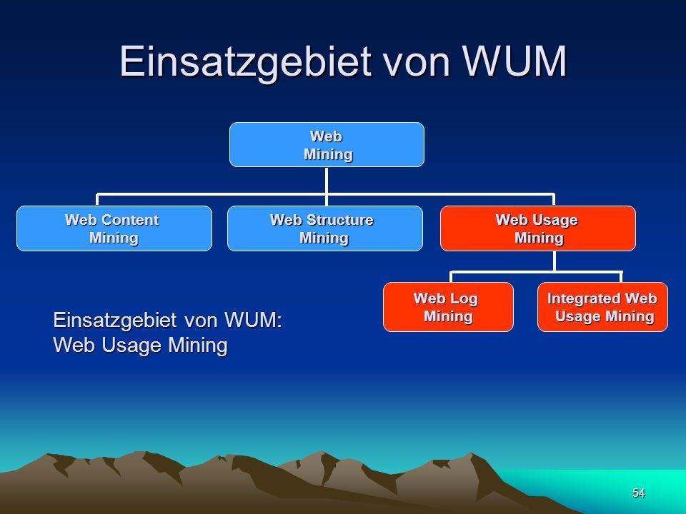 Einsatzgebiet von WUM Einsatzgebiet von WUM: Web Usage Mining Web
