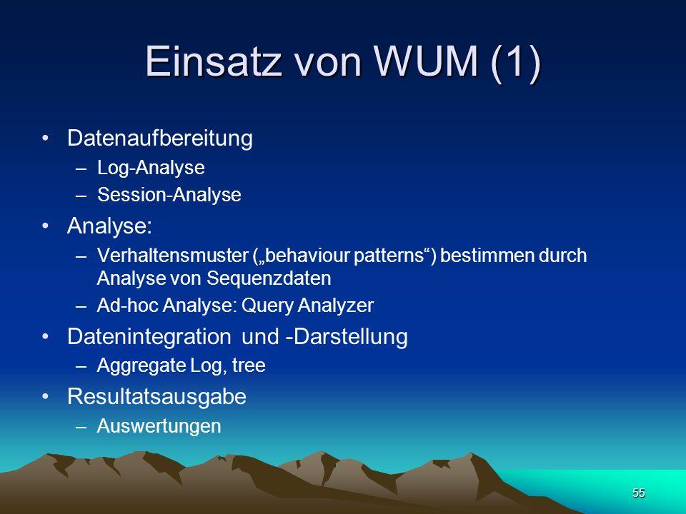 Einsatz von WUM (1) Datenaufbereitung Analyse: