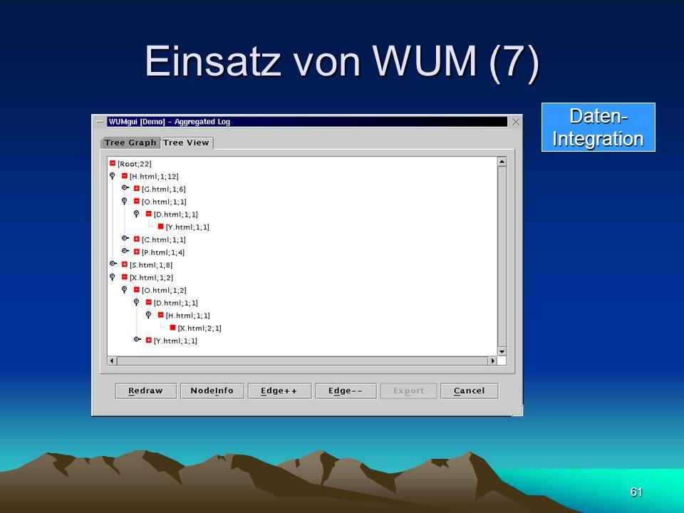 Einsatz von WUM (7) Daten- Integration