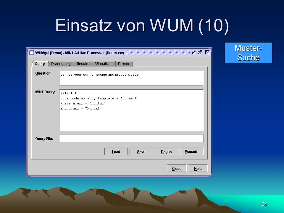 Einsatz von WUM (10) Muster- Suche